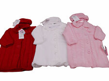 BNWT Baby girls white red or pink chunky knitted winter cardigan coat  hat  set