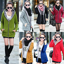 Womens Zipper Thicken Fleece Hooded Winter Hoodie Slim Trench Jacket Coat Parkas