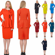 WOMENS CLASSY VINTAGE PEPLUM SKIRT SUIT RETRO BUSINESS FORMALCHURCH SKIRT SUITS