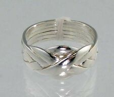 Puzzle Band Ring  New 6 Piece Interlocking  .925 Sterling Silver - Sizes 6-12