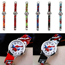 Fashion PU Leather Cartoon Kids Boys Quartz Spider Man Marvel Wrist Watch