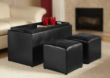 Ottomans As Coffee Tables Storage Square Black Bench Faux Leather End Side Set