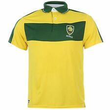 Australia Cricket Team Supporters Polo Shirt Mens Green/Gold Collared T-Shirt