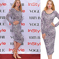 BODYCON MIDI DRESS LONG SLEEVE LEOPARD CASUAL COCKTAIL EVENING DRESSES A1858