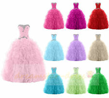 Formal Crystal Evening Prom Party Ball Wedding Gowns Quinceanera Dress Size 6-18