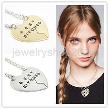 Unique 2 BEST BITCHES Friends Heart BFF Pendant Friendship Necklace-Gold/Silver