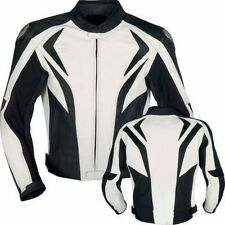 BLACK/WHITE LEATHER JACKET MOTORCYCLE BIKER JACKET MEN MOTORBIKE LEATHER JACKETS