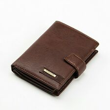 Men Real Leather Passport Credit Card Case ID Cash Holder Zipper Wallet Casual