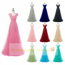 Tulle Stock Long Formal Prom Party Ball Wedding Gowns Evening Dresses Size 6-18