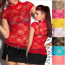 NEW WOMENS FASHION lacy DANCE TOP XS S M L short sleeve lace tops SEXY CLUBWEAR