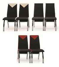 Dining Room Chairs Faux Leather Stylish Chrome Legs Modern Carved Furniture Set