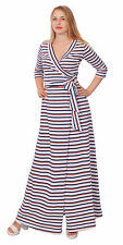 STRIPED WRAP MAXI DRESS TIE WAIST CROSSOVER CASUAL LONG FLOOR DRESS PLUS A2158