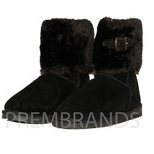 NEW WOMENS LADIES FLAT SUEDE SHOES PULL ON  FAUX FUR ANKLE BOOT ALL SIZES 3 - 8
