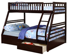 Espresso Twin over Full Bunk Bed with Storage Drawers