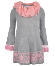 """Beautees Big Girls' """"Crocheted Cuff"""" Knit Dress with Infinity Scarf"""