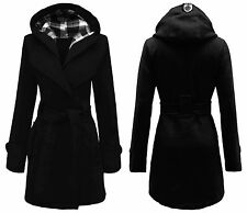 LADIES WOMEN'S HOODED BUTTON BELTED COAT FLEECE JACKET PLUS SIZE 8 - 20