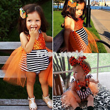 Newborn Infant Baby Girls Princess Striped Sequins Rompers Jumpsuit Tulle Dress