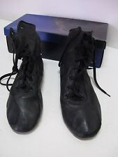 Paul Wright Dance Shoes High Top Jazz Boot Split Sole, Black Leather, New