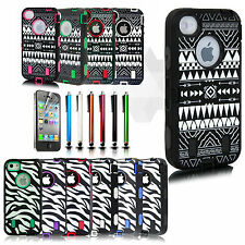 Zebra Shockproof Hybrid Hard Rugged Case Protective Cover For Apple iPhone 4 4S
