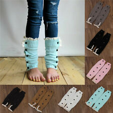 Children Lace Leg Warmers Trendy Knitted Button Trim Boot Cuffs Girls Socks p6