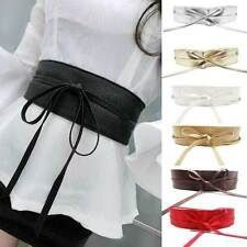 Soft Leather Womens Wide Self Tie Wrap Around Obi Waist Band Boho Dress Belt