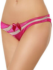 Sexy Knickers Shiny Hot Pink Satin Lingerie Panties With White See Through Mesh