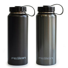 FEIJIAN Stainless Steel Water Bottle Wide Mouth with Plastic Lid 34 Oz BPA Free