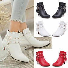 New Short Women's Round Toe Leather Ankle Boot  Zipper Buckle Stiletto Shoes