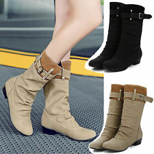 Womens Fashion Boots Shoes Slouch Flat Mid Calf Knee High Riding Round Toe Comba