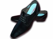 Mens Boys Shoes Leather Casual Work BASE LONDON KAYAK Black Sizes 7-12 Available