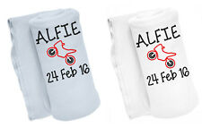 Personalised Embroidered with ANY NAME & D.O.B Motorbike Cute Baby Blanket