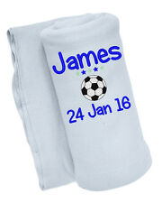 Personalised Embroidered with ANY NAME & D.O.B Football Cute Baby Blanket