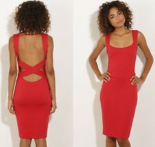 Open Back Bodycon Party Midi Dress M 10 12 Strappy Cut Out Hot Sexy Stretch Club