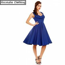 Dolly and Dotty Blue Grace Swing Dress - Vintage 1950s Pinup Retro Rockabilly
