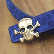 High Quality Mens Fashion Belts New Smooth Buckle Leather Blue Skull Men's Belts