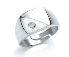 Solid Sterling Silver Platinum Plated Gents Signet Ring With Stone Sizes T - Y