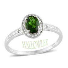 Russian CHROME DIOPSIDE , Diamond Solitaire RING in Plat / Sterling Silver .91Ct