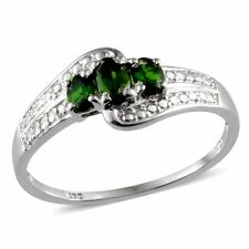 Russian CHROME DIOPSIDE TRILOGY 3 Stone RING Platinum / Sterling Silver .65 Cts.