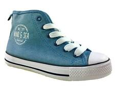 LADIES GIRLS CASUAL CANVAS SUMMER LOW TOP TRAINERS BLUE SIZE 13-6 NEW!
