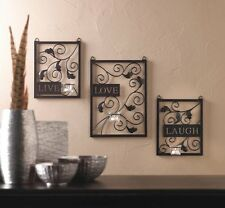 Live Laugh Love Quote Metal Picture Plaques Candle Wall Art Hanging Living New