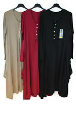 ITALIAN LADIES SOFT COTTON STONE BUTTON DRAPE FALL TUNIC COMFY CASUAL TOP