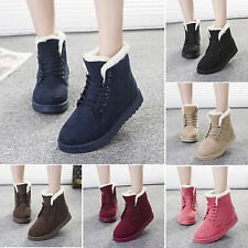 Winter Womens Chunky Snow Fur Lined Lace Up Warm Flat High Top Ankle Boots Shoes