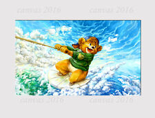 538A LARGE CANVAS MULTI WALL ART SURFER TEADY BEAR CLOUDS SKY ROOM Print picture