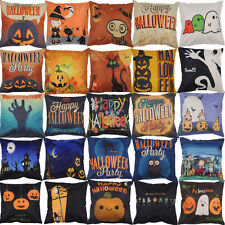 Funny Halloween Home Decor Linen Throw Pillow Cover Square Cushion Case GIFT