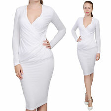 WHITE WOMEN'S DRAPED WRAP MIDI EVENING COCKTAIL PARTY DRESS LONG SLEEVE V NECK