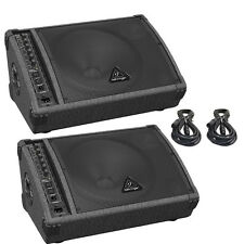 2X Behringer F1220D Active Stage Monitors 250W Amplified Speakers w/Cables 20Ft