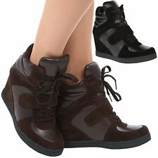 Becky Womens Concealed Wedges Heels Lace Up Trainers Ladies High Top Pumps Size