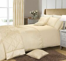 Luxury Cream Damask Jacquard Duvet Cover Bedding Set