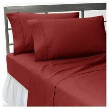 US-BEDDING COLLECTION 1000TC 100%EGYPTIAN COTTON BURUGNDY SOLID US KING SIZE