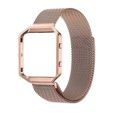 Milanese Loop Stainless Steel Watch Band + Metal Frame Housing for Fitbit Blaze